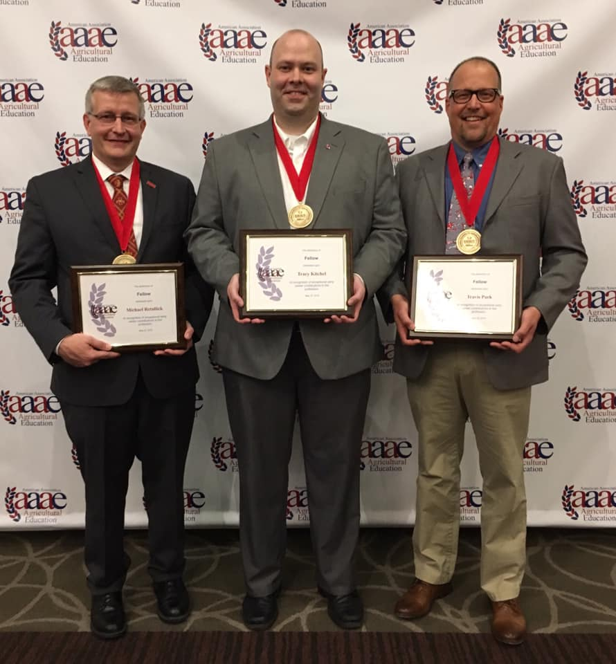 Dr. Tracy Kitchel (center) with fellow recipients Dr. Mike Retallick of Iowa State University and Dr. Travis Park of North Carolina State University.