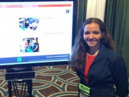 ACEL PhD student Christy Clary presents a poster on Teen Leadership